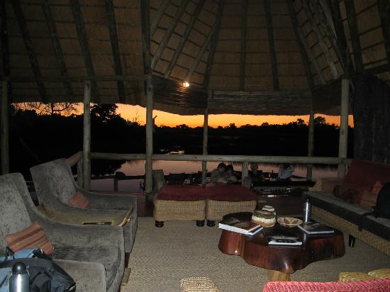Wilderness Safaris Savuti Camp: view from main lodge at dusk