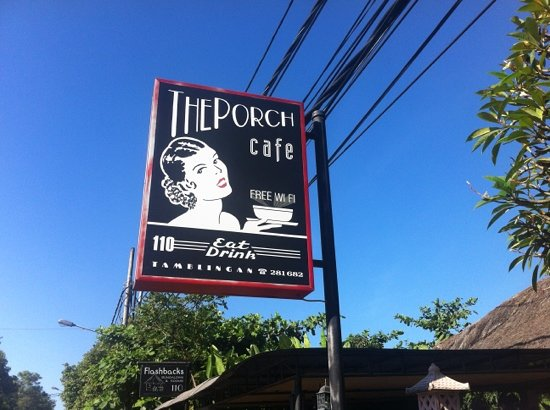 The Porch Cafe: Sign from the street.