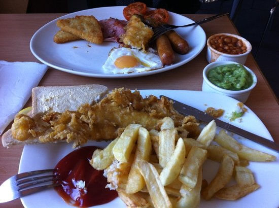The Cod End Fish & Chip Shop: cod and chips/big boy breakfast