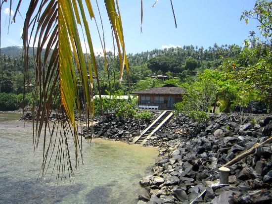 Lumbalumba Diving: A view from the beach.  Hotel is hidden in the trees. The house you see is the dive shack.