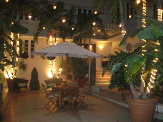 South Beach Small Hotel Patio At Night Miami