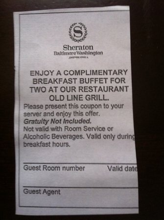 Breakfast Coupon Picture Of Sheraton Baltimore