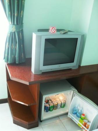 Thipurai City Hotel: Fernseher und Minibar