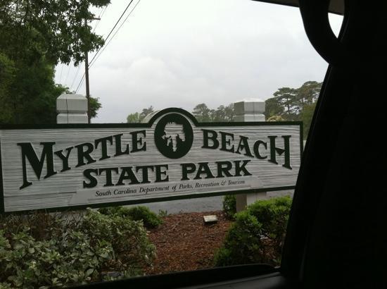 Myrtle Beach State Park: entrance/exit sign