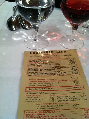 Brasserie Lipp : menu