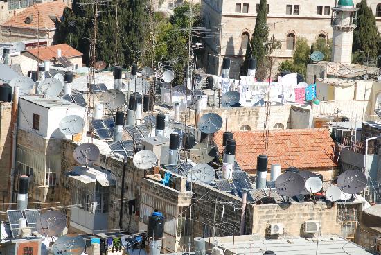 Lutheran Church of the Redeemer : View from bell tower into old city. A sea of satellite dishes!