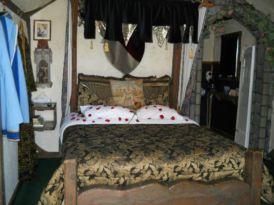 Castle Wood Theme Cottages: A beautiful queens bed