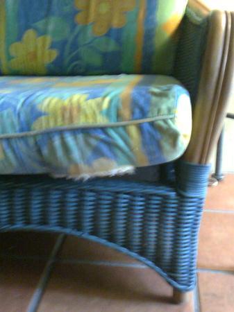 Reef Club Resort: Holes in the longue room furniture.