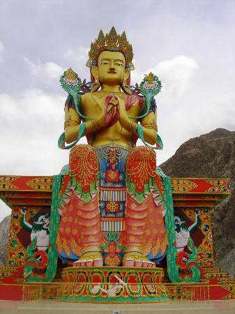 Jammu and Kashmir, India: Buddha Statue in Diskit