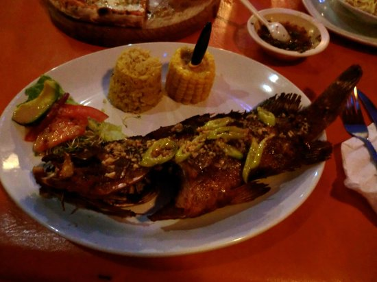 Cocos Cabanas: Fresh grouper prepared by Helmut