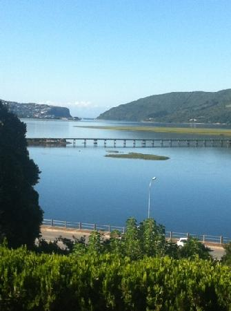 Hide Away Guest House: view from our first floor room balcony all the way across to Knysna Heads