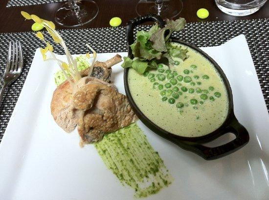 Restaurant L2 : pintade et risotto au petits pois