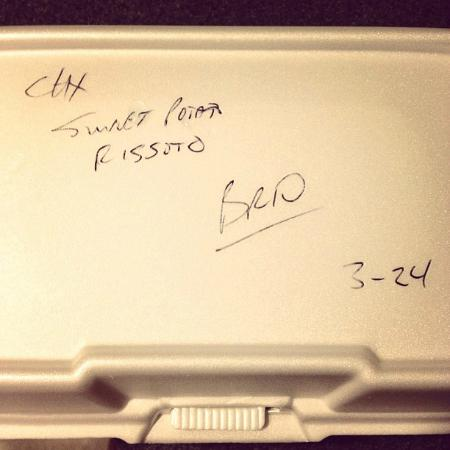 BRIO Tuscan Grille : Our server wrote on my leftover box