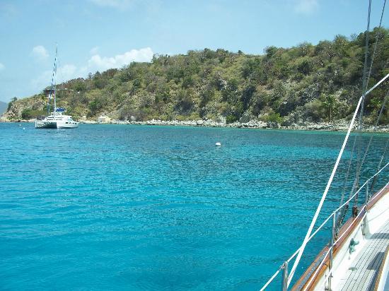 Sail Bravura: Cooper Island from Bravura
