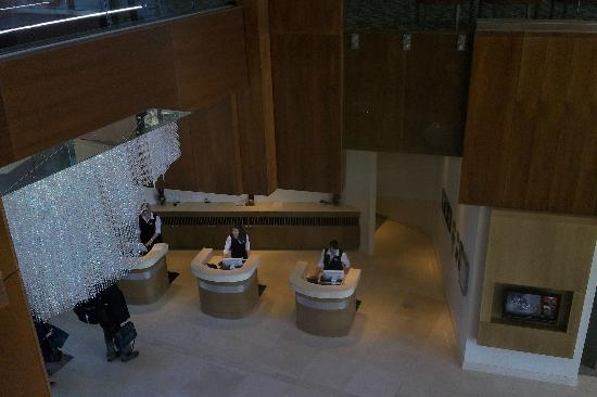 looking down from 2nd floor to lobby