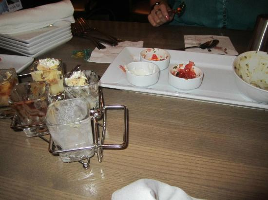 Milestones Grill + Bar: Goat cheese platter with fig - what's left of it...