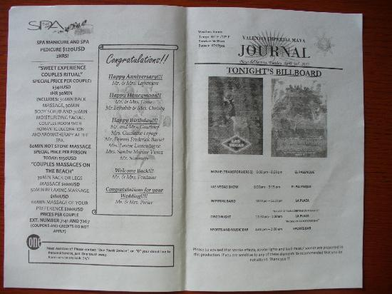 Valentin Imperial Riviera Maya: Journal quotidien rédigé par l'hôtel