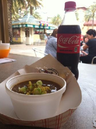 Salty's Seafood Rolls & Gumbo: award winning gumbo and ice cold coke at the destin commons -salty's