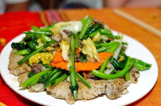Little SaPa Restaurant: Fried mixed vegetables with rice cake