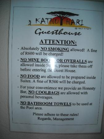 Kathuhari Guesthouse: Rules in room
