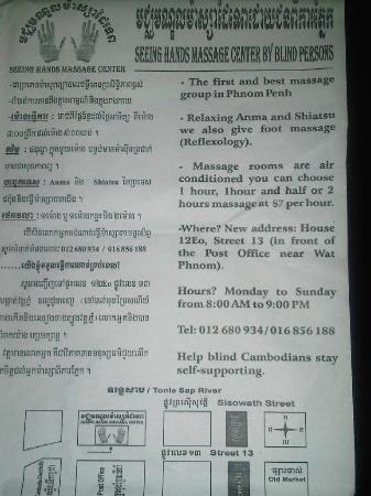 Seeing Hands Massage Center: Menu and description