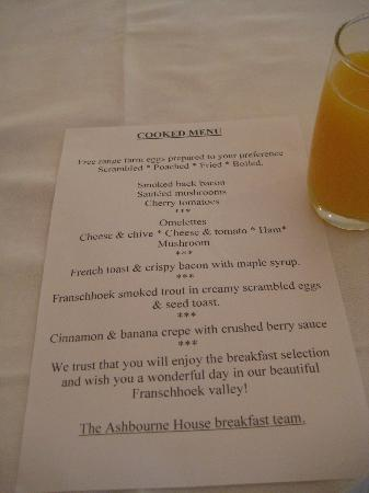 Ashbourne House Guest House: Breakfast menu, which was wonderful