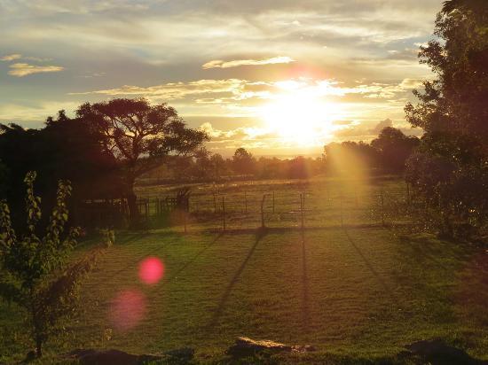 Posada de Campo Gondwana: Atardecer desde piscina