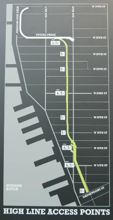 street map of high line park access points picture of the high