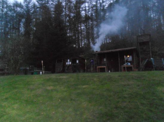 Marthrown of Mabie: view of sauna and hot tub