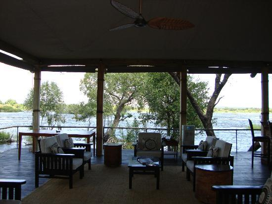 Wilderness Safaris Toka Leya Camp: lounge area is right on the water
