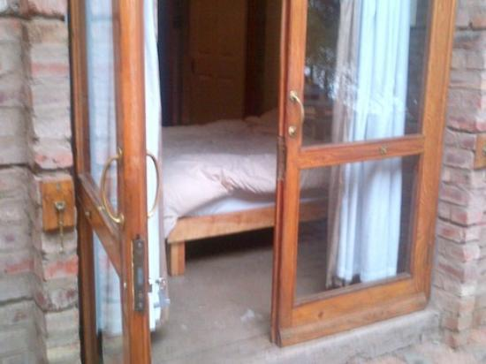 bed right up at door that has to be closed at all times