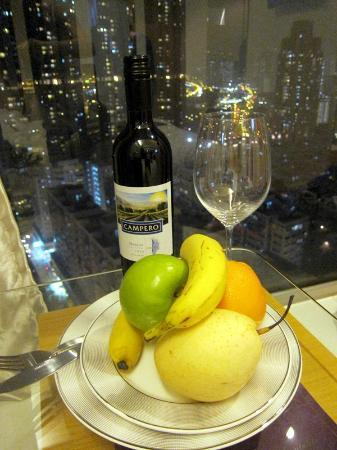 Dorsett Mongkok Hong Kong A Bottle Of Wine Fruit Platter Given By The