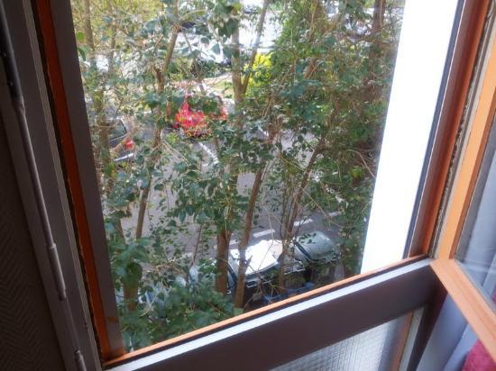 Hotel les Tritons: vue de la chambre sur les poubelles