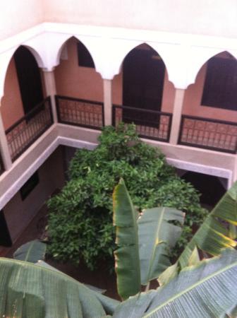 Riad l'Oiseau du Paradis: le patio vue des étages