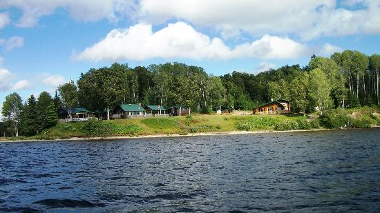The view of Camp Anjigami from out on the lake.