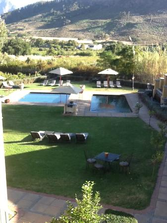 Franschhoek Country House & Villas: View of the pools