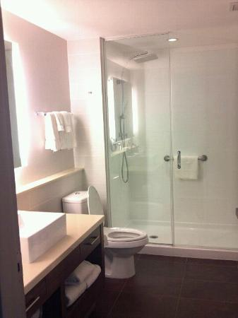 Element Ewing Princeton: spacious bathroom with full length mirror on door