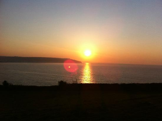 Belmont House Beer: View across Lyme Bay at 7am, from the cliff top car park, a short walk from the Belmont
