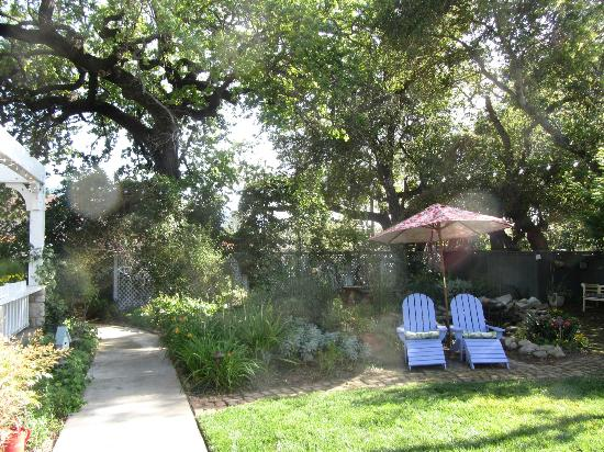 Lavender Inn: There are several secluded spaces in the shade for reading.