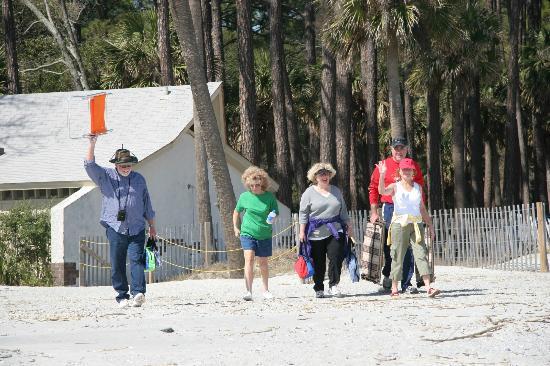 Hunting Island State Park: Happy People Walking Onto Hunting Island Beach