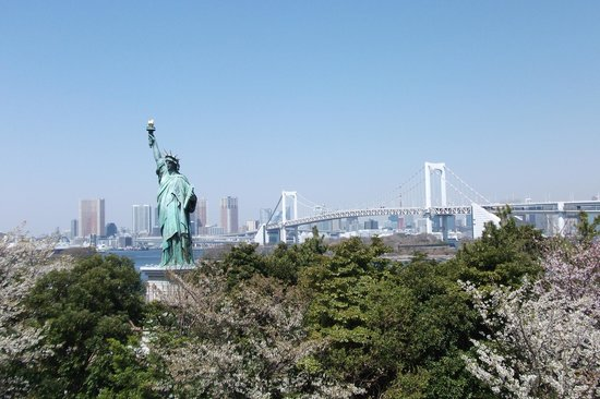 Minato, Japan: View of the Statue of Liberty and Rainbow Bridge