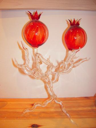 Sheva Chaya Gallery : Delicate and light-capturing hand-blown piece with pomegranates
