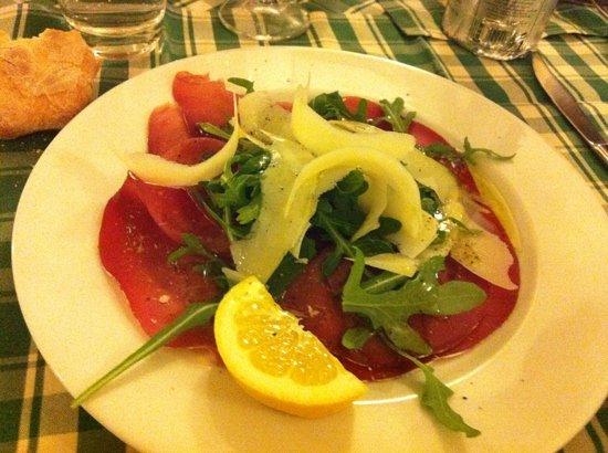 Osteria del Beuc : delicious carpaccio of bresaola