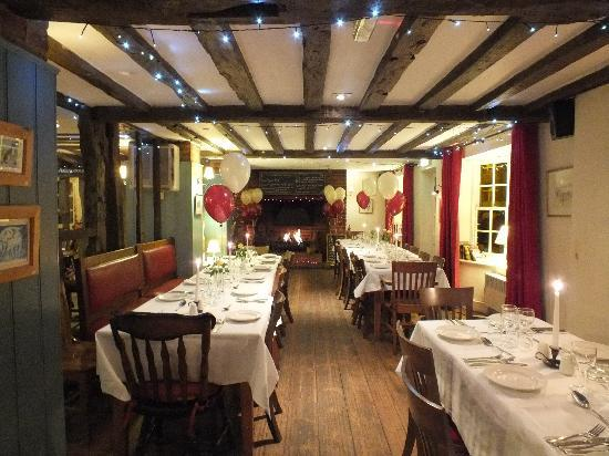 The White Horse Restaurant: the restaurant laid for a party