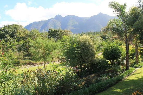 Aan de Oever Guesthouse: Views of the garden and mountains from the Guinea Fowl room