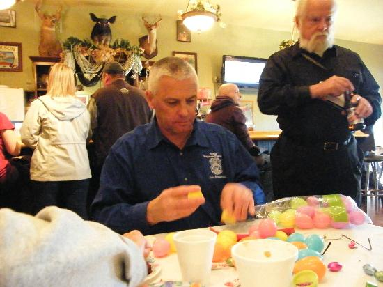 Antler Bar: Antler's Business After Hours.Our Rep.  Jon Bumstead stuffing Easter Eggs for the hunt.