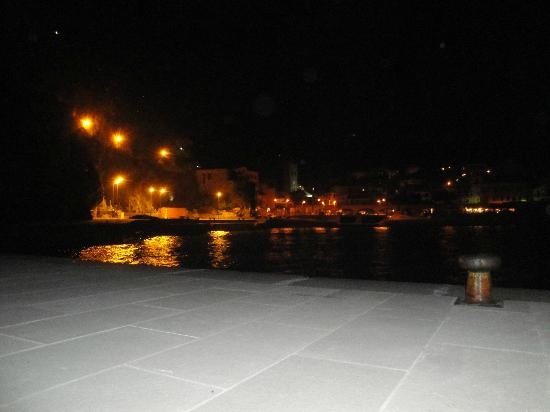 Hotel Pasquale : Night view of Monterosso. Hotel is in the center.