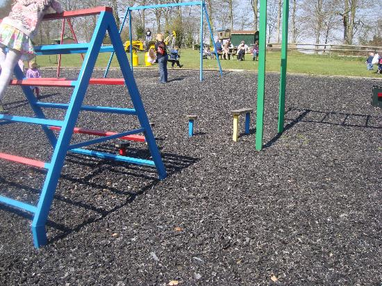 Teffont Evias, UK: Metal climbing frame on old tyre foundations