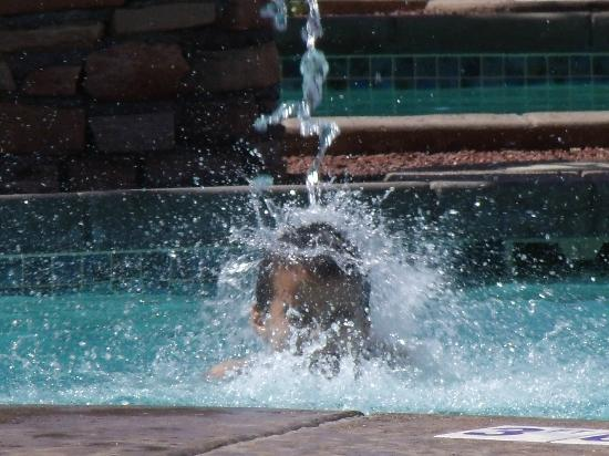 Cibola Vista: Getting hosed in the fountain.