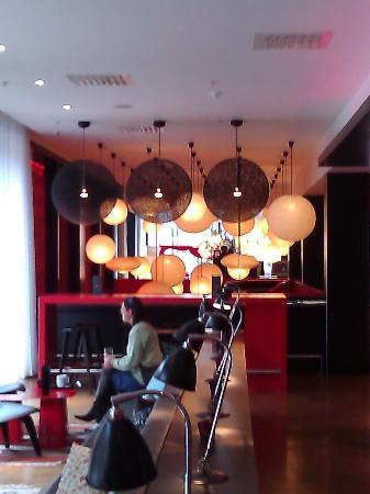 bar lounge area - addition lounge beyond white paper lanterns